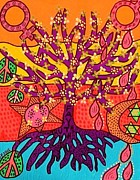Invitations Paintings - Tree Of Life Peace And Sorrow by Jennifer Fayth