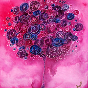 Tree Of Life Pink Swirl Print by Christy  Freeman