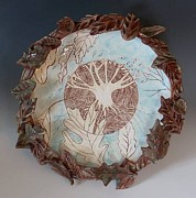 Carved Ceramics - Tree of Life Plate by Patty Sheppard