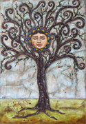 Folk Art Prints Framed Prints - Tree of Life Framed Print by Rain Ririn