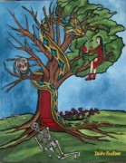 Serpents Painting Prints - Tree of life temptation and death Print by Deidre Firestone