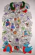 Gond Tribal Art Mixed Media - Tree Of Life With Brids by Subhash Vyam