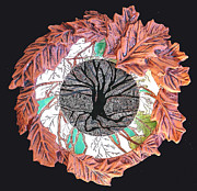 Incised Ceramics - Tree of Life with Oak Leaves and Veins Platter by Patty Sheppard