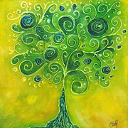 Tree Leaf Painting Prints - Tree of Life Yellow Swirl Print by Christy  Freeman