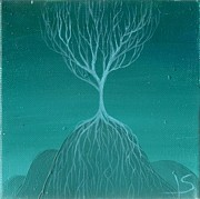Tree Roots Painting Posters - Tree of Renewal Poster by Lisa Stevens