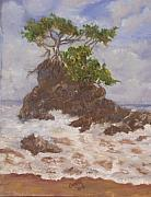 Crashing Surf Paintings - Tree on a Rock by Greta Michelle Joachim