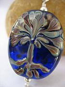 Tree Jewelry - Tree on Cobalt Pendant by Kristy Kempinger