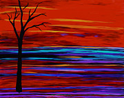 Abstract Expressionist Metal Prints - Tree On The Red Horizen Metal Print by Suzeee Creates