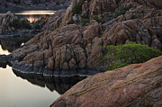Rocks Prints - Tree over Watson Lake Arizona Print by Dave Dilli
