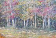Fall Colors Pastels Posters - Tree Pageant Poster by Penny Neimiller