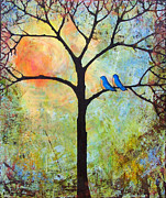 Bluebirds Framed Prints - Tree Painting Art - Sunshine Framed Print by Blenda Studio