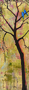 Rustic Paintings - Tree Print Triptych Section 1 by Blenda Tyvoll