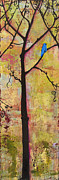Gold Color Paintings - Tree Print Triptych Section 2 by Blenda Tyvoll