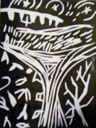 Linocut Mixed Media Posters - Tree Reaching to Heaven Poster by Victoria Hasenauer