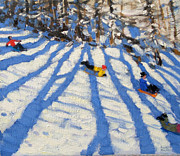 Sledging Prints - Tree shadows Morzine Print by Andrew Macara