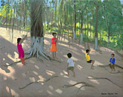 Dappled Light Painting Posters - Tree Swing Poster by Andrew Macara