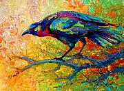 Raven Paintings - Tree Talk - Crow by Marion Rose