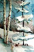 Winter Drawings - Tree Talkers by Mindy Newman
