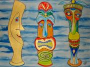 Tiki Drawings Framed Prints - Tree Tikis Cuz Framed Print by Erika Swartzkopf