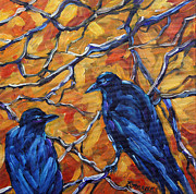 Original  By Artist Paintings - Tree top Lovers by Richard T Pranke