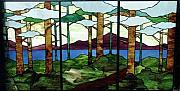 Stained Glass Art Metal Prints - Tree Tryptic Metal Print by Jane Croteau