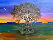 Sunset Painting Framed Prints - Tree Yantra Framed Print by Sundara Fawn