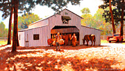 Mules Prints - Treece Barn Print by Kevin Lawrence Leveque