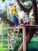 Children Print Painting Originals - Treehouse Magic by Hanne Lore Koehler