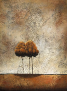 Earth Tones Metal Prints - Trees 3 Metal Print by Jane Hunt