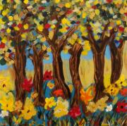 Visionary Artist Painting Prints - Trees and Bright Flowers Print by Mary Carol Williams