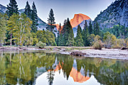 Park Scene Posters - Trees And Mountain Reflection In River Poster by Inspirational Images by Ken Hornbrook