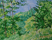 Evening Flower Originals - Trees and Ridge by Charles Zigmund
