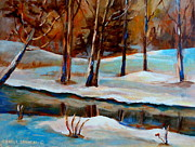 Rural Snow Scenes Posters - Trees At The Rivers Edge Poster by Carole Spandau