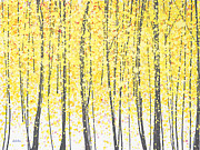 Yellow Paintings - Trees at Twilight Gold by Jerome Lawrence