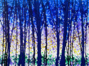 Wash Painting Posters - Trees at Twilight V Poster by Jerome Lawrence