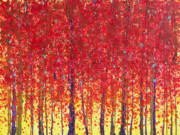 Red Autumn Posters - Trees at Twilight XII Poster by Jerome Lawrence