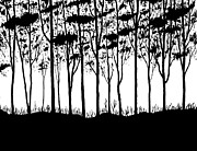 Spot Drawings Posters - Trees curtain  Poster by Marwan Hasna - Art Beat