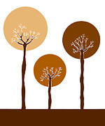 Brown Drawings Posters - Trees Poster by Frank Tschakert