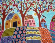 Modern Folk Art Paintings - Trees Houses Barn And Birds by Karla Gerard