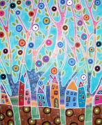 Printed Mixed Media Posters - Trees Houses Landscape Poster by Karla Gerard