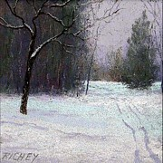 Mist Pastels Posters - Trees in a Winter Fog Poster by Bob Richey