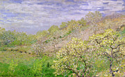 Exterior Framed Prints - Trees in Blossom Framed Print by Claude Monet