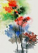 Anil Nene Prints - Trees in colors Print by Anil Nene