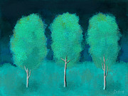 Snowy Night Art - Trees in Triplicate Moonlit Winter by Robin Lewis