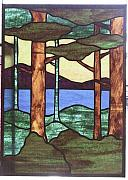 Stained Glass Art Metal Prints - Trees Metal Print by Jane Croteau