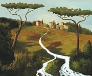 Italian Mediterranean Art Paintings - Trees Of Tuscany by Larry Cirigliano