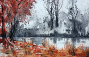 Watercolour Mixed Media Originals - Trees on the pond side by Andre MEHU