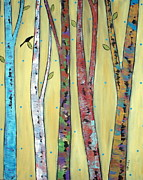 Folk Art Abstract Prints - Trees On Yellow Print by Karla Gerard