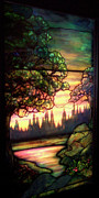 Fine American Art Glass Art Framed Prints - Trees Stained Glass Window Framed Print by Thomas Woolworth