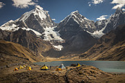 Mountain Prints - Trekkers Camp Near Carhuacocha Lake Print by Colin Monteath